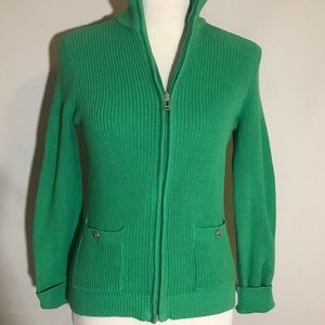 green knit zip up sweater Chaps